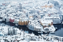 A Snowswept lesund Norway  Photographed by Johan Kistrand