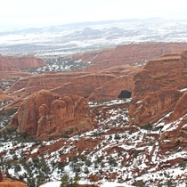 A snowy Moab at Arches National Park being cold has never looked so warm