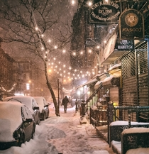 A snowy New York City street  Photographed by Vivienne Gucwa