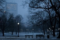 A snowy night and an empty Boston Common