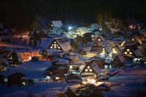 A snowy night in Shirakawa-go Japan