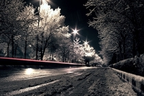 A snowy street at night in Tehran Iran