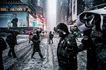A Snowy Winter Day in Times Square New York City