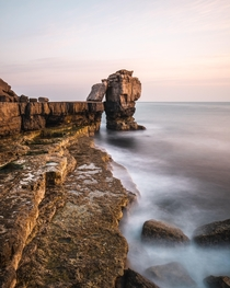 A soft sunset at the UKs Pulpit Rock in Dorset  IG pete_ell