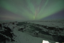 A special New Years surprise Northern Lights tonight over Gullfoss waterfall in Iceland
