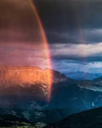 A spectacular burst of light before the storm arrived over the Dolomites Italy