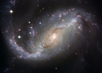 A spectacular view of the nearby barred spiral galaxy NGC  showing details in the galaxys star-forming clouds and dark bands of interstellar dust Hubble Space Telescope image