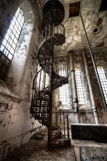 A spiral staircase in the abandoned Sleaford Bass Maltings malt house