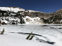 A spring thawing pattern in Lake Schmidell Located deep in Desolation Wilderness CA