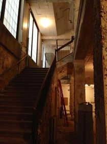 A staircase inside the defunct Public School  Riverside Academy in Buffalo NY