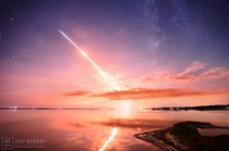 A starry night and the Milky Way witnessed the launch of LADEE to the Moon four days ago This  second exposure captures part of the rockets initial launch streak and nd stage ignition flare along with a brilliant reflection of the fiery sky in calm waters