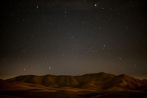 A starry night over the desert hills in Fuertaventura