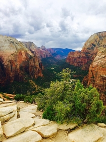 A Storm Approaching the Summit of Angels Landing Zion National Park