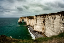A storm is coming in the cliff of Etretat Normandy France