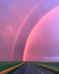 A storm outside Regina Saskatchewan produced this picture of a stunning double rainbowtysonliske