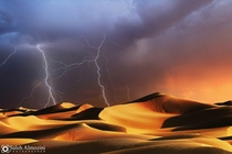 A storm over the deserts of Saudi Arabia  photo by Saleh Almozini