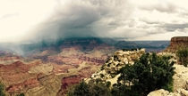 A storm passing over the Grand Canyon