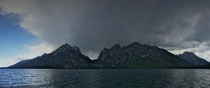 A storm rolls in over the Grand Tetons cellphone pano