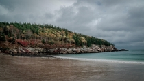 A stormy afternoon at Sand Beach in Acadia National Park
