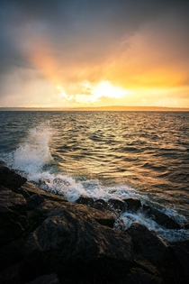 A Stormy Sunset on the shores of Discovery Park - Seattle WA