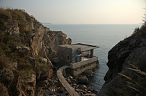 A strangely idyllic North Korean lookout point building on the shore near Rajin  photo by Frhtau