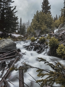 A stream right below Dream lake in Rocky Mountain National Park OC  x