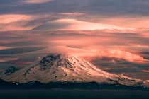 A stunning double lenticular cloud atop Mt Rainier taken yesterday at sunset