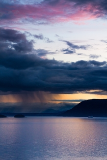 A stunning rainy sunset over Saltspring Island British Columbia Canada