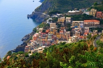 A Stunning view of most beautiful village Riomaggiore Liguria Italy