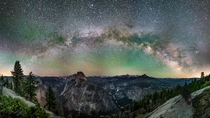 A stunning view of the Yosemite Valley from above during the new Moon
