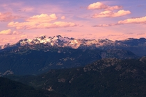 A summer time sunset on the top of Whistler as a helicopter approaches Photo by Thomas Dawson