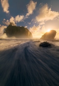 A sun star peaking over a sea stack along the coastline at Olympic National Park WA