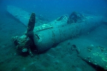 A sunken Japanese WWII fighter plane