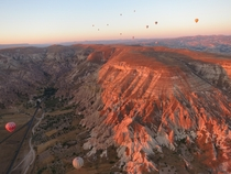 A sunrise view from a hot air balloon over Greme - Cappadocia Turkey