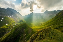 A sunset over the Glarus Alps in Eastern Switzerland I camped in this valley between two mountain passes and it was surreal