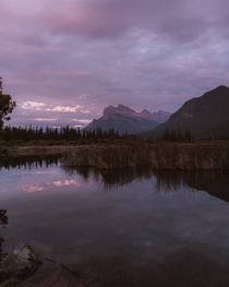 A sunset over Vermillion Lakes in Banff AB