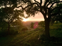 A sunset shower overlooking the Texas Hill Country