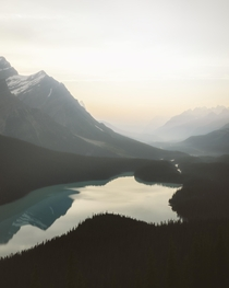 A super hazy sunset at Peyto Lake in Canada Definitely one of the most beautiful places I have ever been to