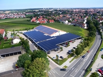 A supermarket car park in Germany covered in solar panels