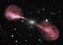 A supermassive black hole in action Hercule A and the super jets of plasma stretching for around  million light-years  roughly  times the size of the Milky Way