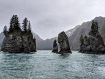 A surreal experience floating past the spires near Aialik Bay in Kenai Fjords National Park Alaska