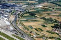 A temporary diversion on the A motorway near Stuttgart Airport Germany