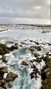 A thawing waterfall in ingvellir National Park Iceland