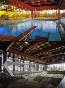 A then and now Grossingers Catskill Resort Hotel swimming pool Located in the Borscht Belt of New York State