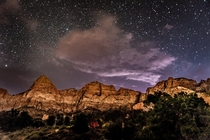 A thunderstorm blew in while camping at Watchman Campground Zion National Park Utah  Photo by Ric Berryman