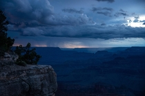 A thunderstorm rolling in over the Grand Canyon just before dark