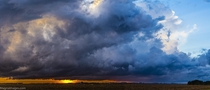 A thunderstorm rolling over rural South Dakota near Sioux Falls