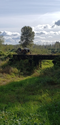 A tractor on a trestle both left to rust and rot