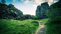 A trail running through the continental divide at ingvellir Iceland