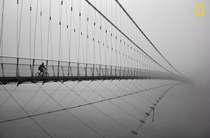 A traveler riding across Ram Jhula bridge in India